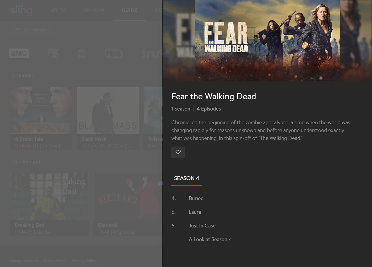 image of show view with available VOD programming