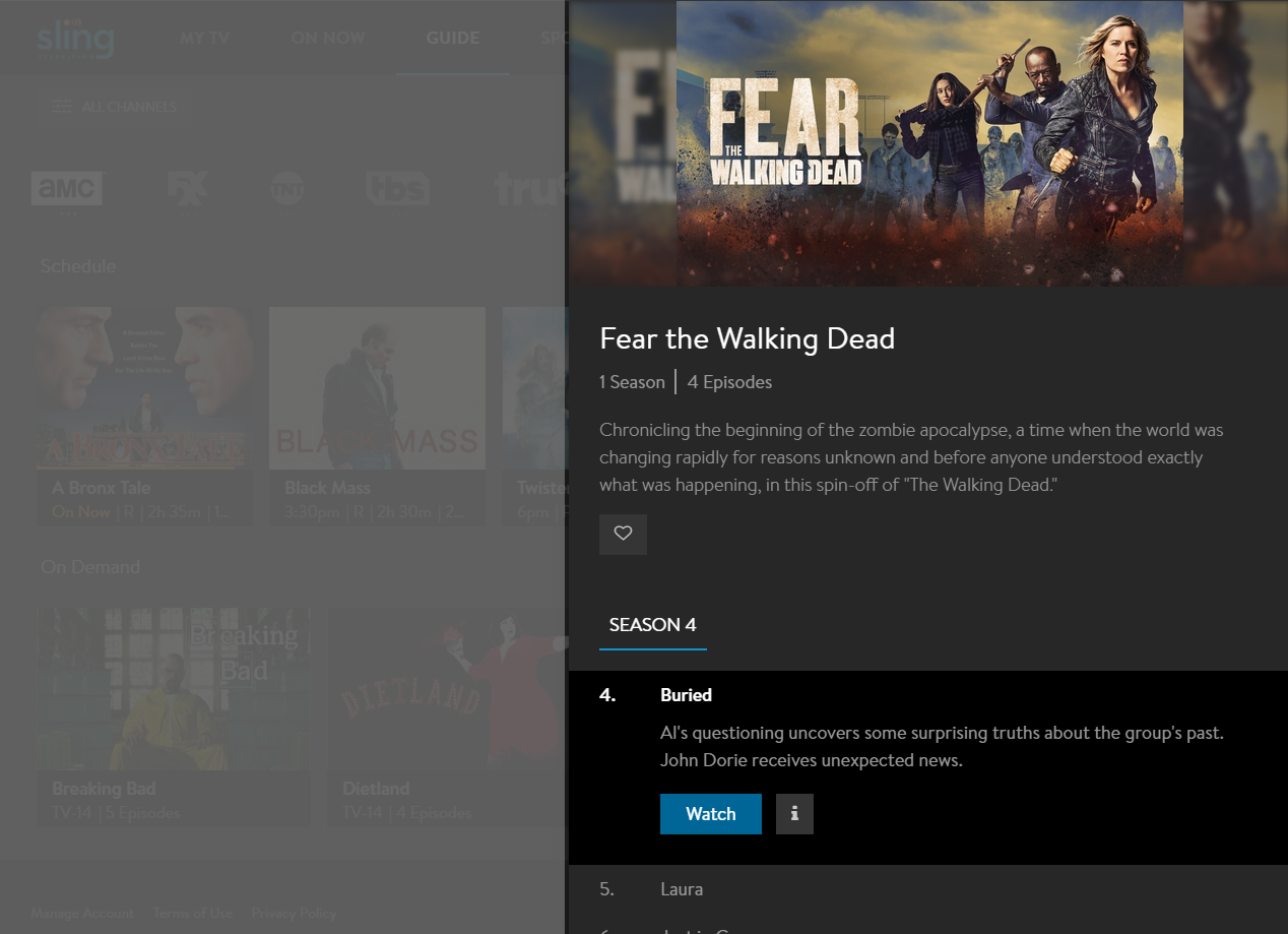 image of show view with single episode selected