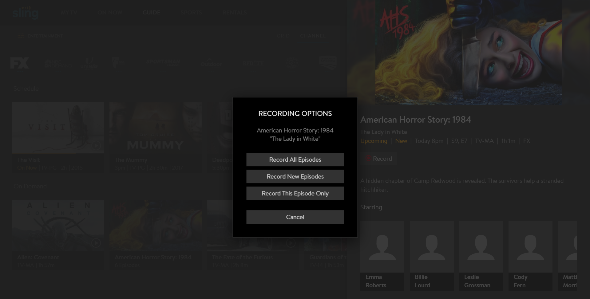 image of recording options pop-up