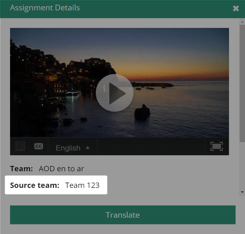 Source team is highlighted in the assignment details dialog box in amara.org