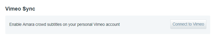 Detail image of Vimeo Sync section in the user account tab