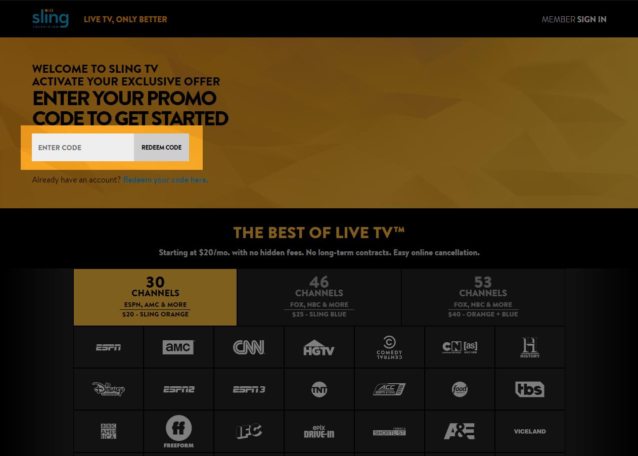 Redeem a Sling TV promo code