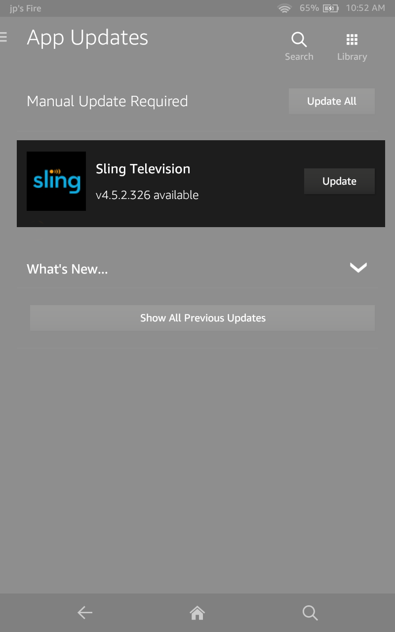 image of sling app highlighted with update available