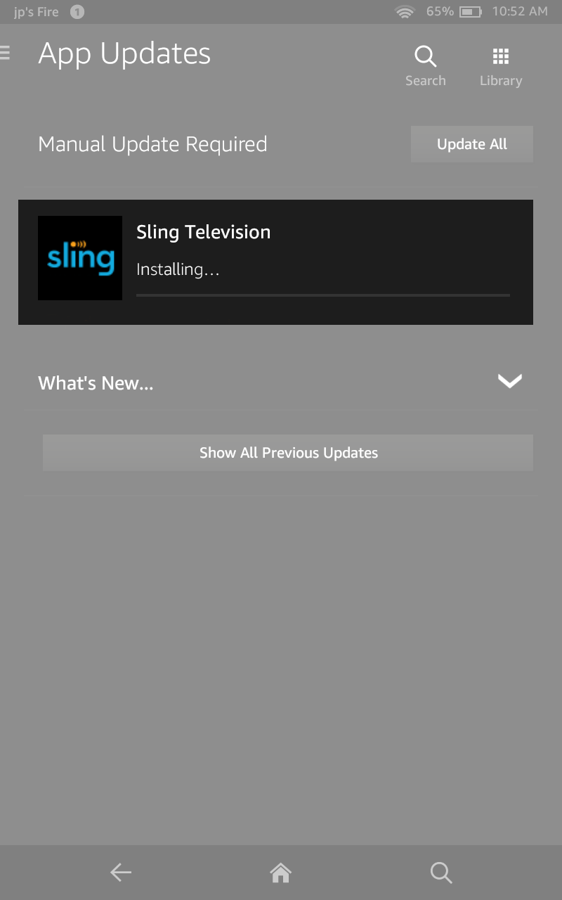 image of sling app update installation in progress