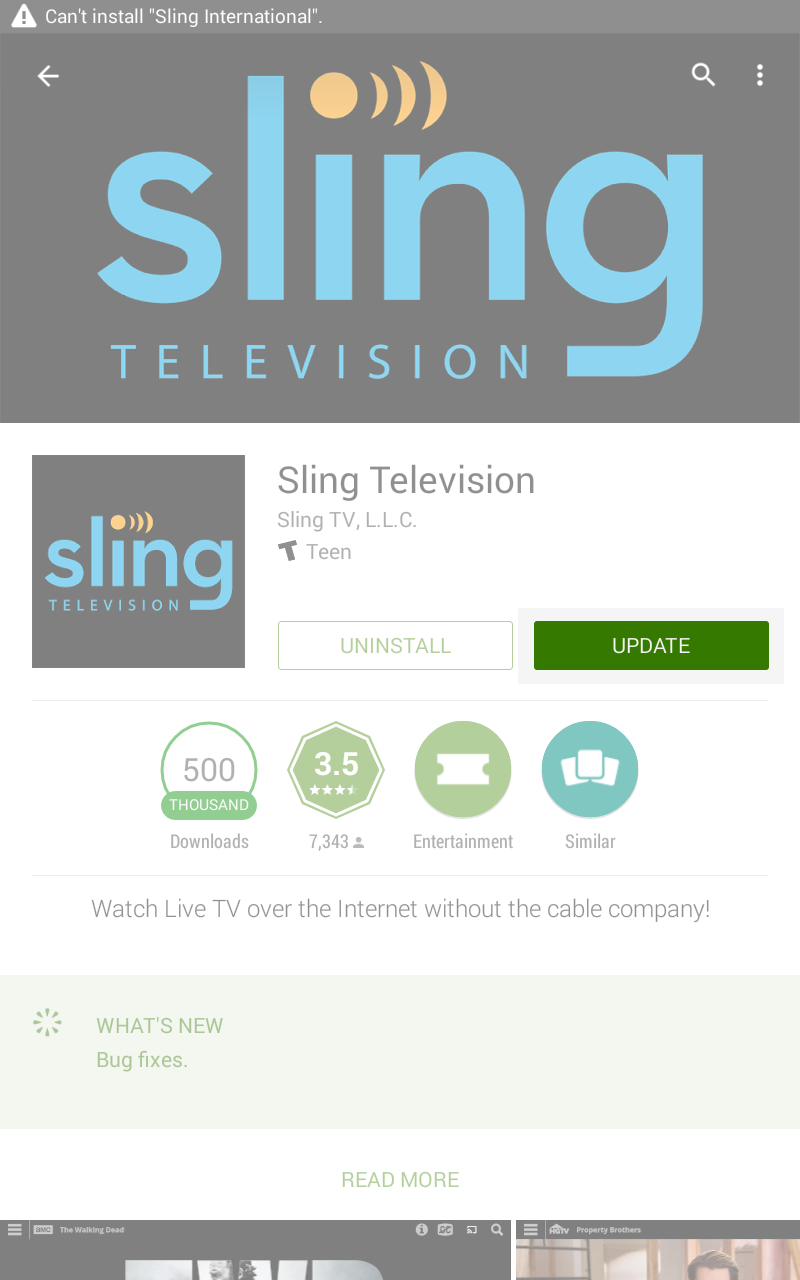 image of sling app screen with update icon highlighted