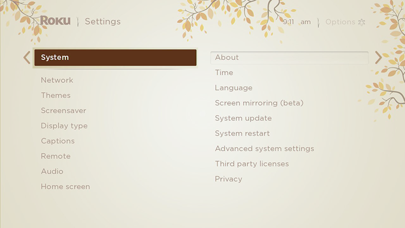 image of settings menu with system highlighted