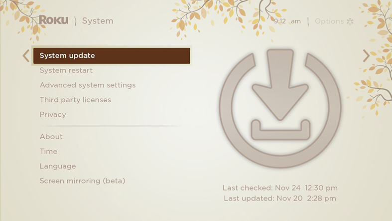 image of system menu with system update highlighted