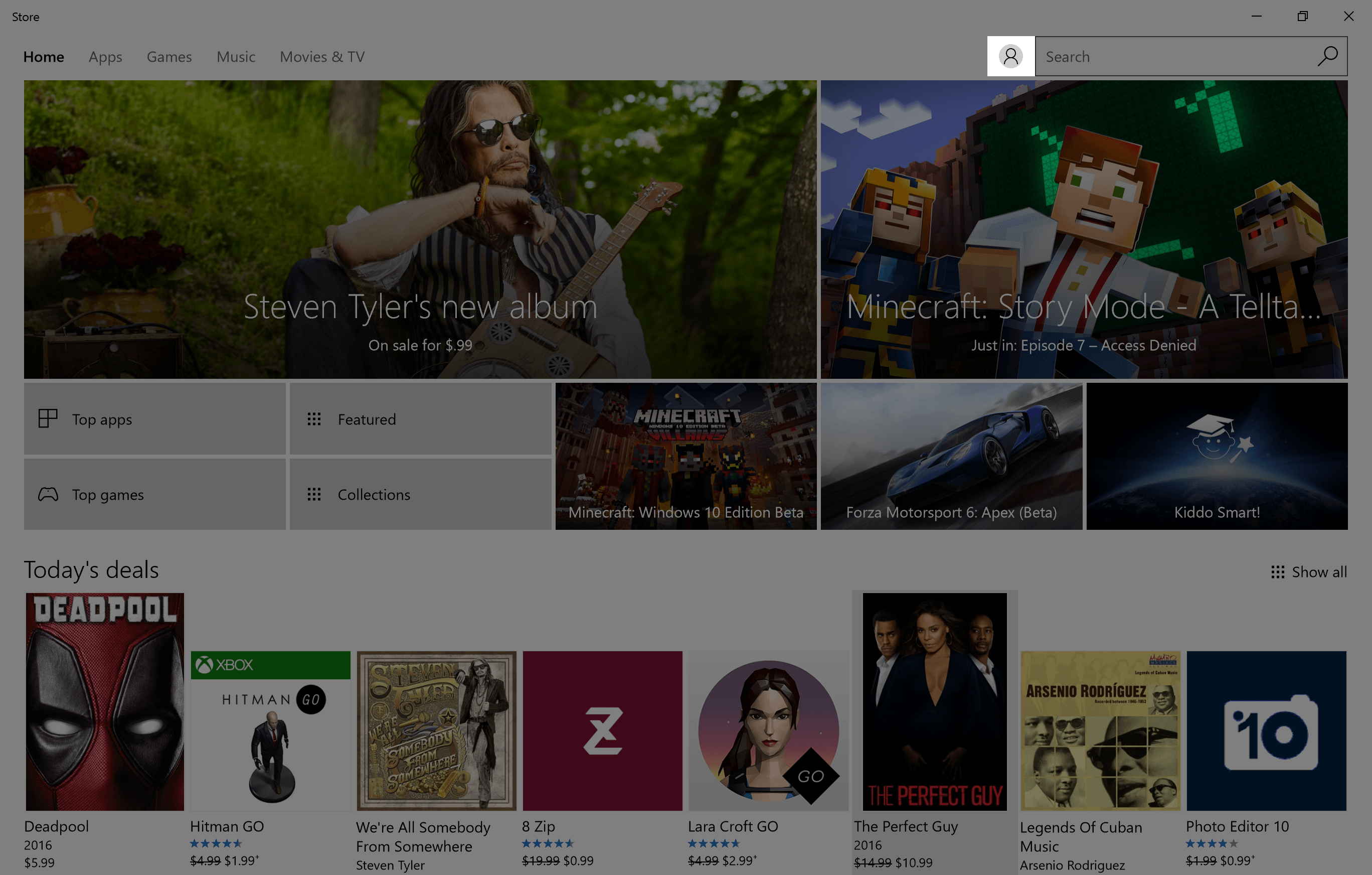 image of windows store with search highlighted
