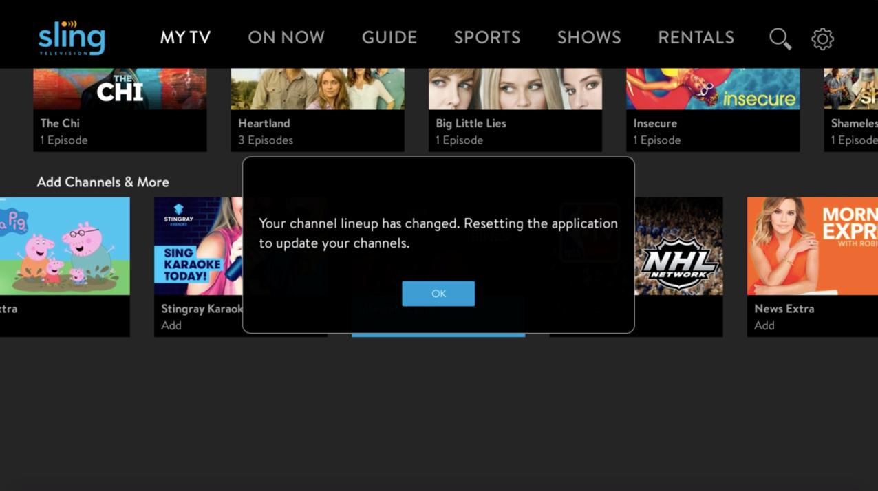 add sling tv programming in-app