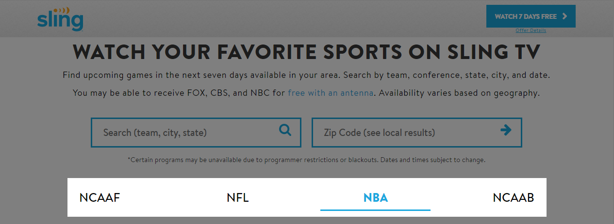 screen shot of selecting a sport