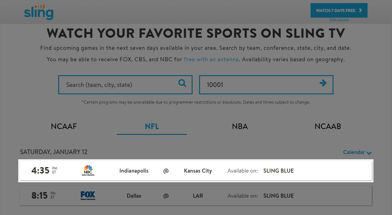 Use the Sling TV Game Finder