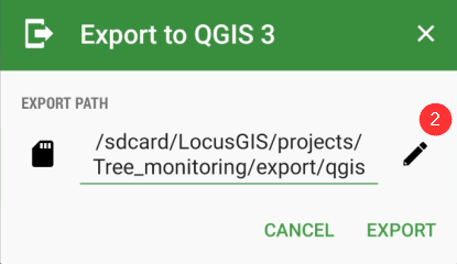 Export to qgis select location