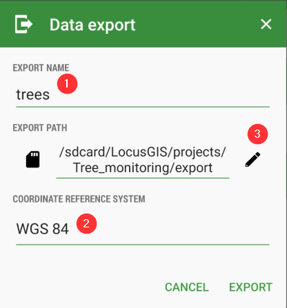 Export to SHP dialog