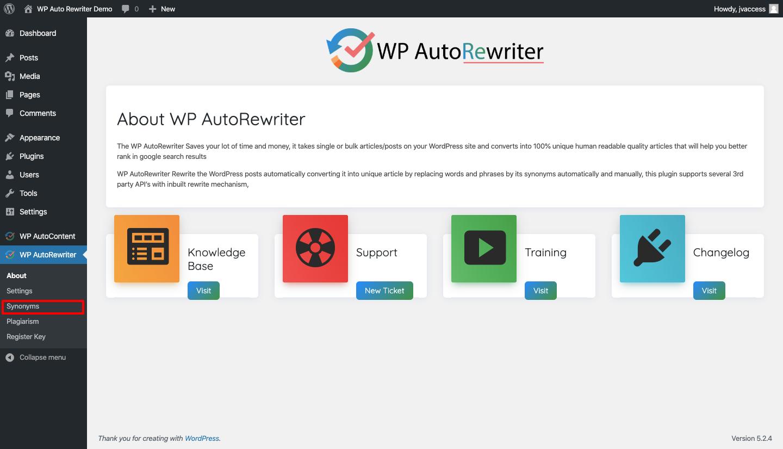 WP AutoRewriter dashboard