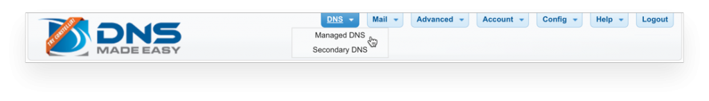 Managed DNS Menu