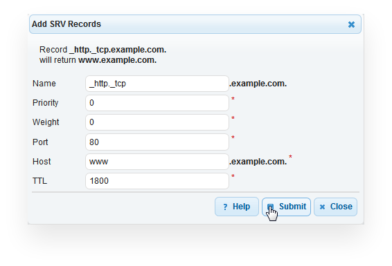 Example SRV Record