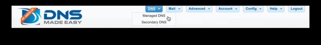 Managed DNS Menu