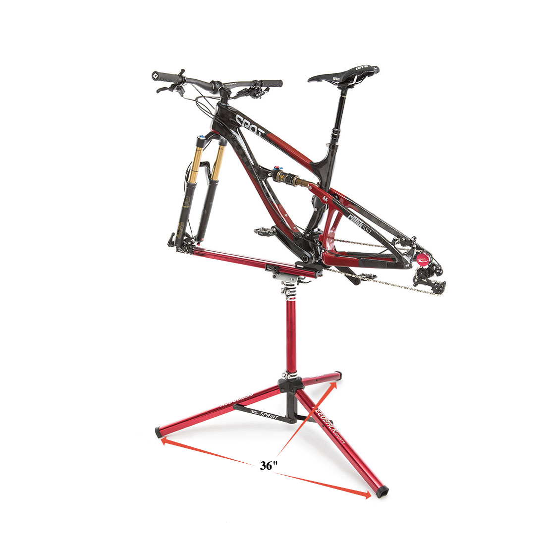 "Repair stand with 36"" footprint"