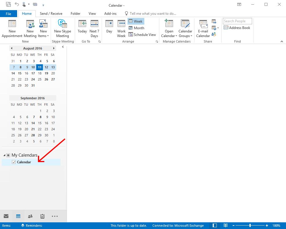 Select Calendar in Outlook