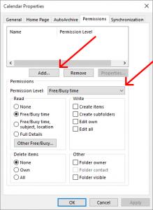 Outlook calendar permissions