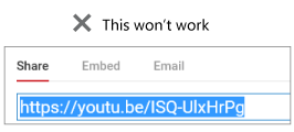 "If your embed code begins with ""http"", your video won't be embedded successfully."