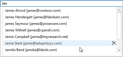 In the Auto-Complete List, select the name that you want to remove, and then choose Delete.