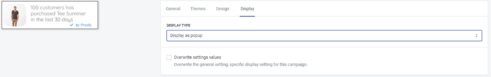 Display as popup