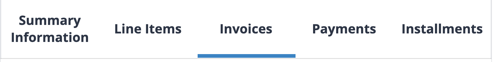 Invoices tab