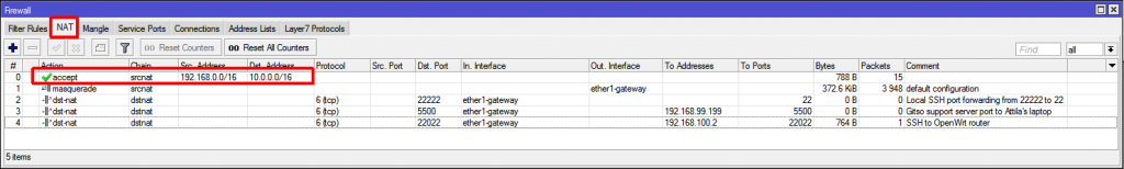 NAT table configuration to exclude traffic from masquerading.