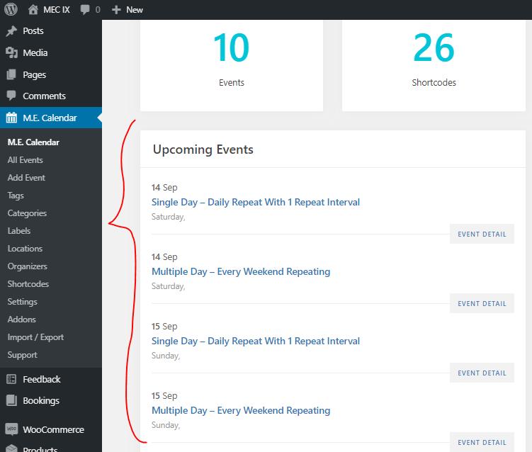 No Event Found Issue in Modern Event Calendar