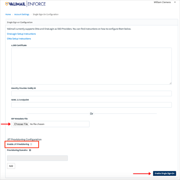 Valimail SSO Settings