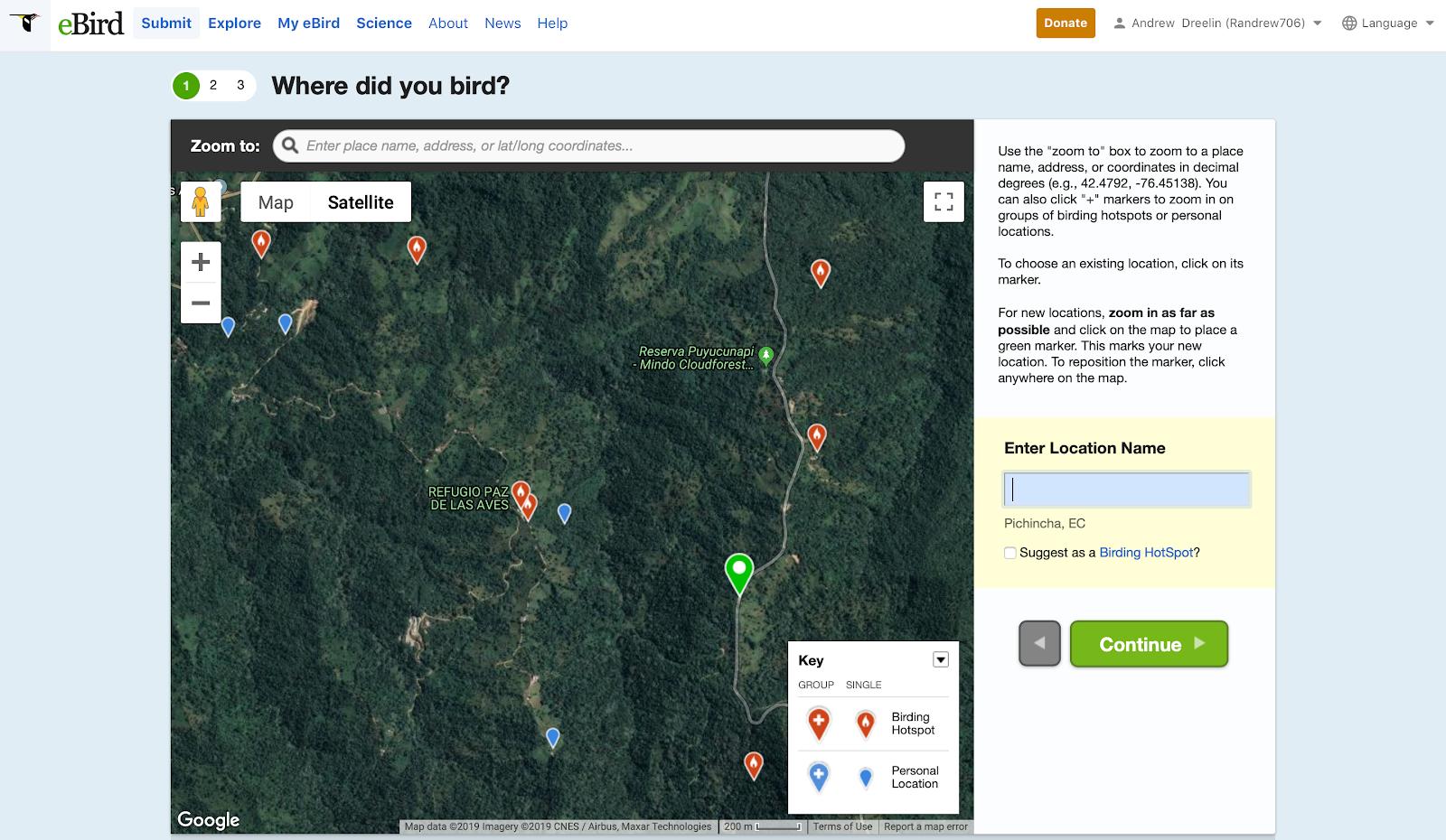 eBird website location selection