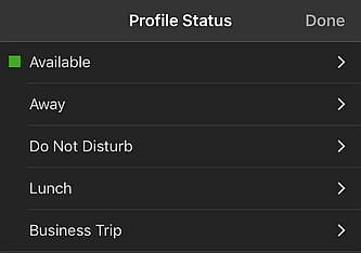 Définition des statuts sur l'application 3CX pour iOS
