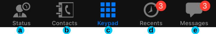 Fonctions principales de l'interface utilisateur de l'application 3CX pour iOS