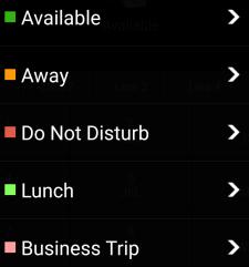 """Option de menu """"Définir le statut"""" sur l'application Android 3CX"""
