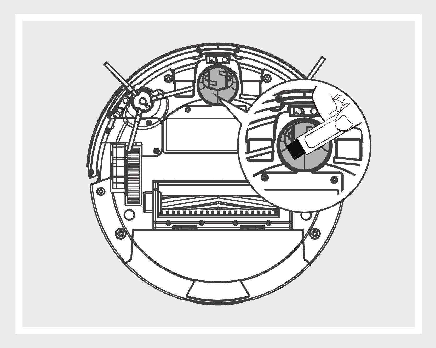 Robô Aspirador de Pó JETS J1 - Roda frontal
