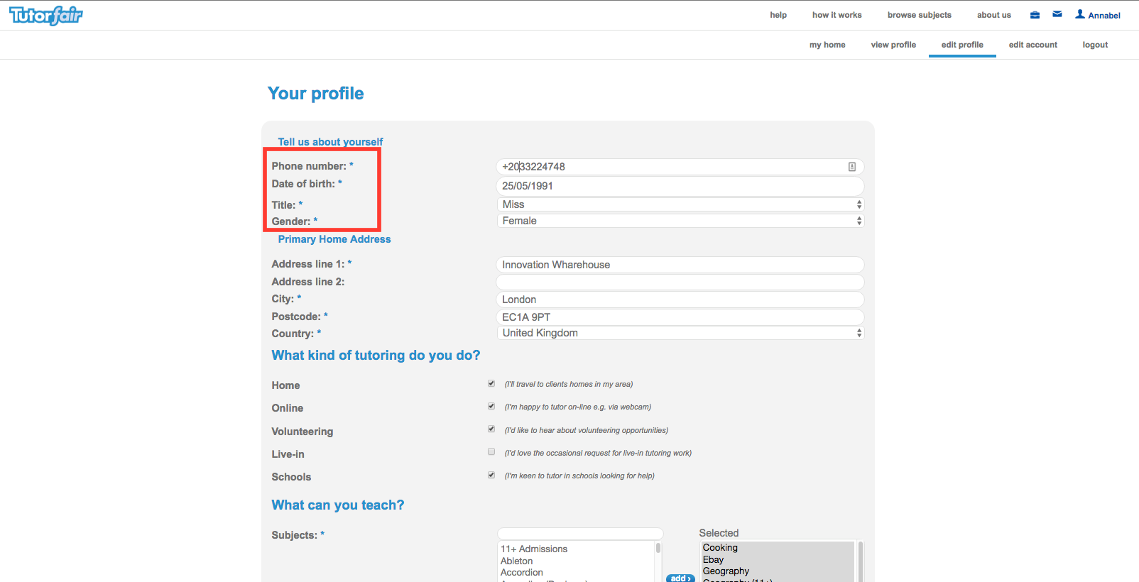 How to create a tutoring profile2