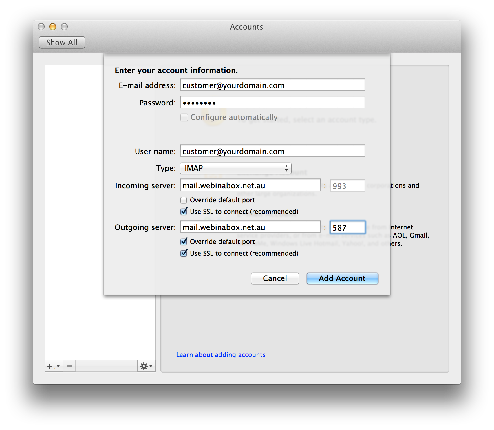 Outlook for Mac 2011 (Settings)