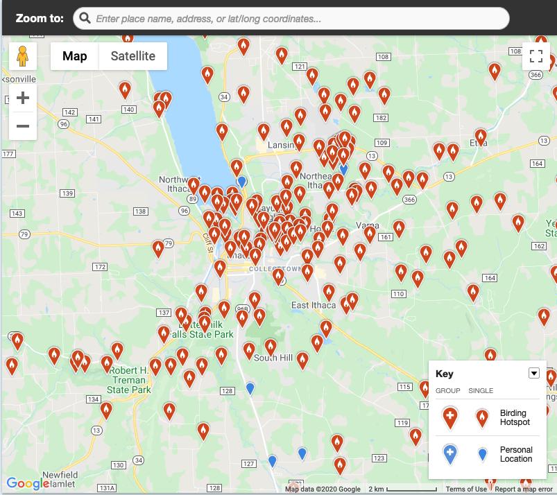 Map of many eBird hotspots