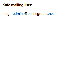 To whitelist an online group, add the group email address to the list of safe mailing lists