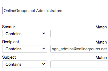 To whitelist an online group, enter the group email address in the Recipient field