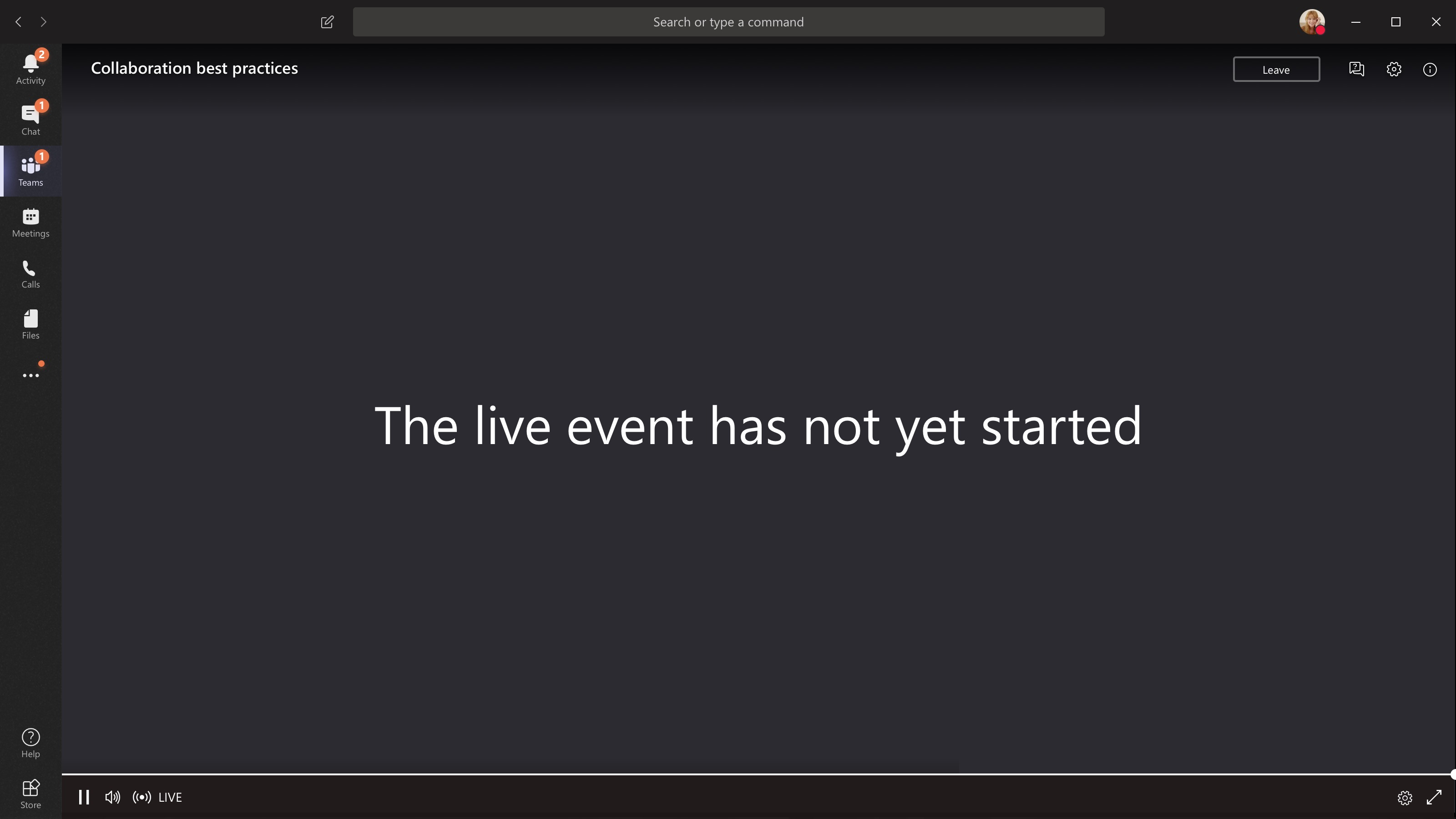 Event not started