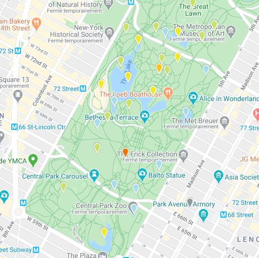 eBird website Hotspots in Central Park