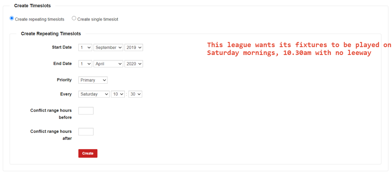 This league wants its fixtures to be played on Saturday's at 10.30am with no leeway to kick off times.