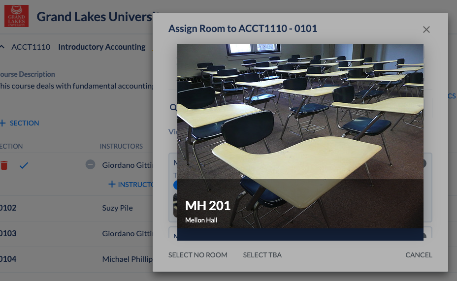 View of a room in the Coursedog Scheduling platform.