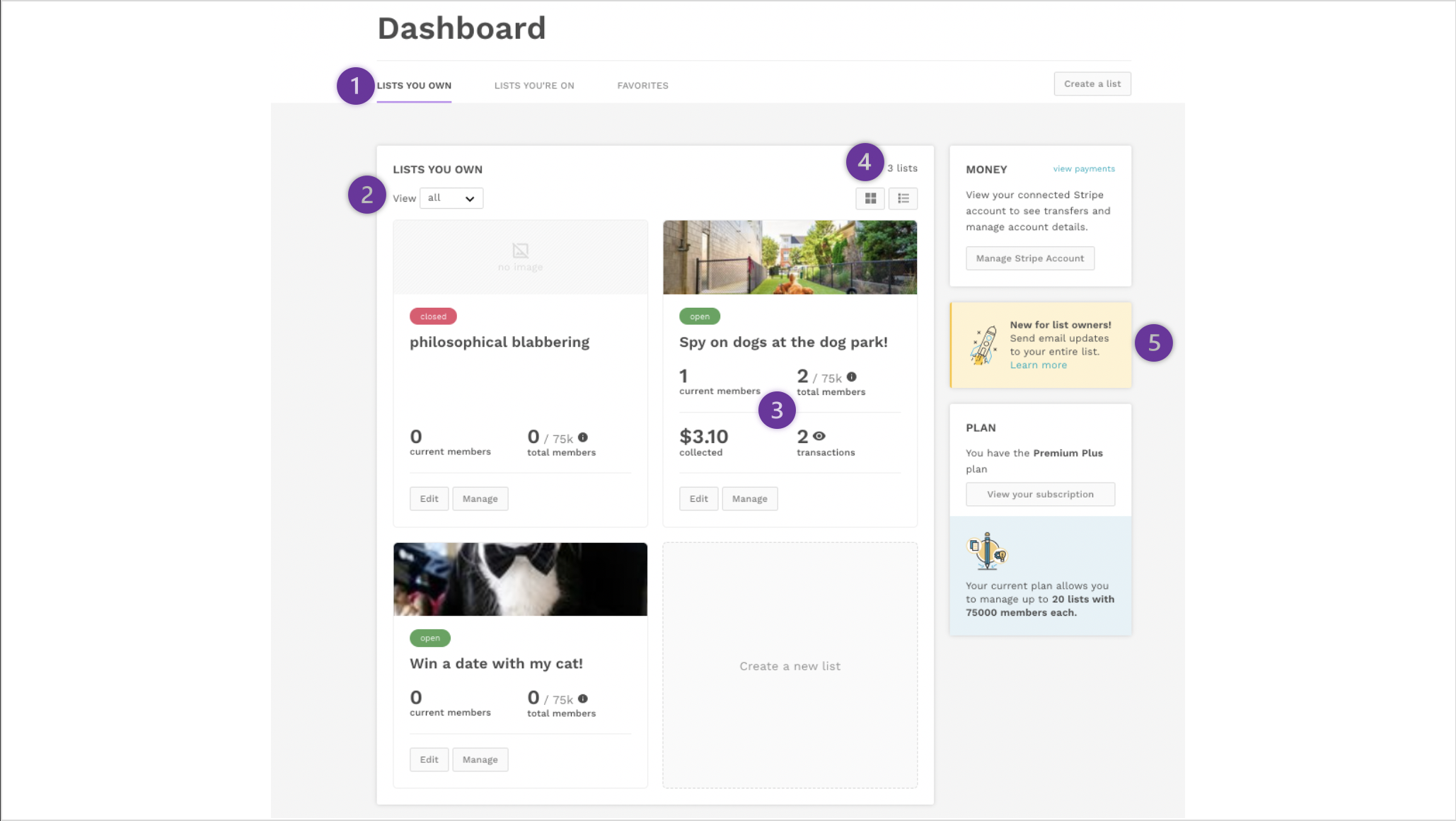 Image of the new dashboard with callout bubbles.