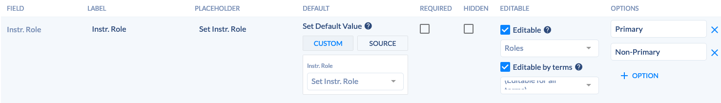 Section template - Instr. Role