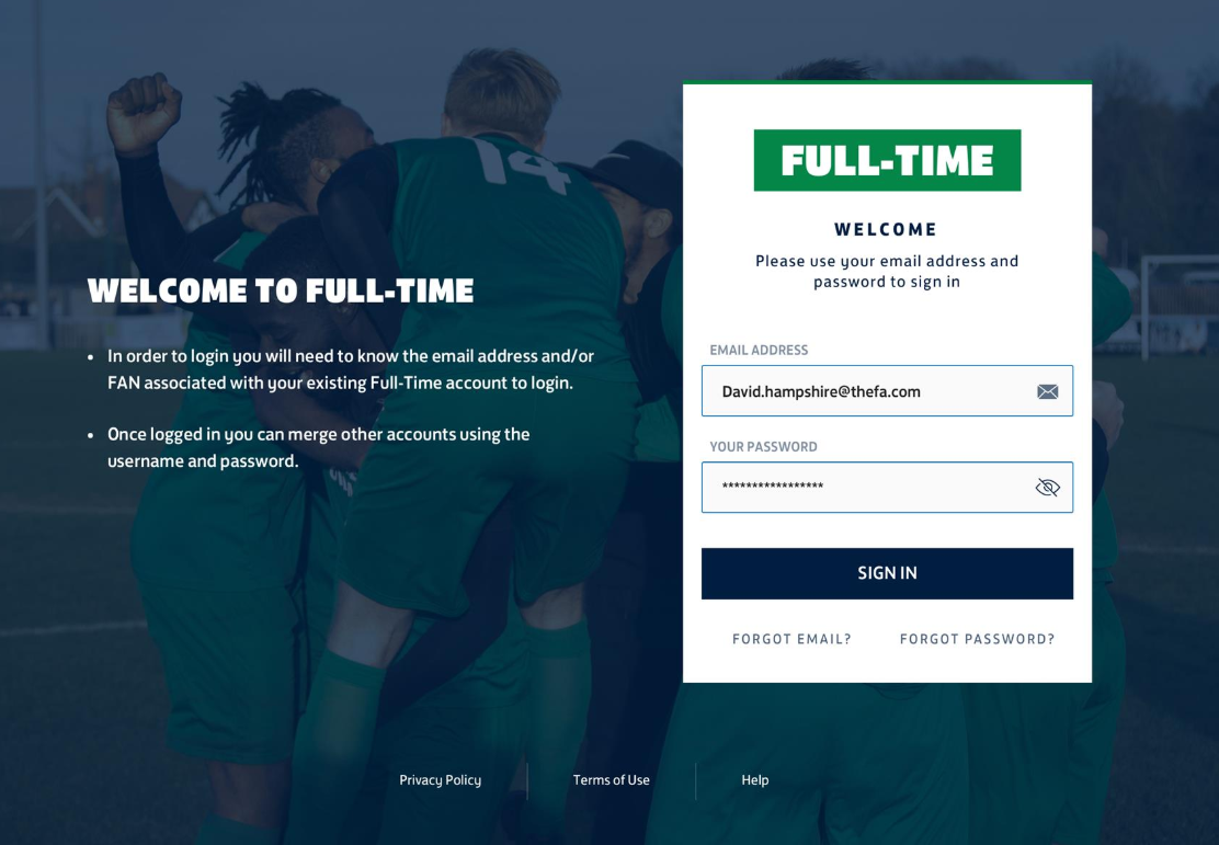 The new look FA Full-time login page