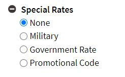 Special Rates box expanded