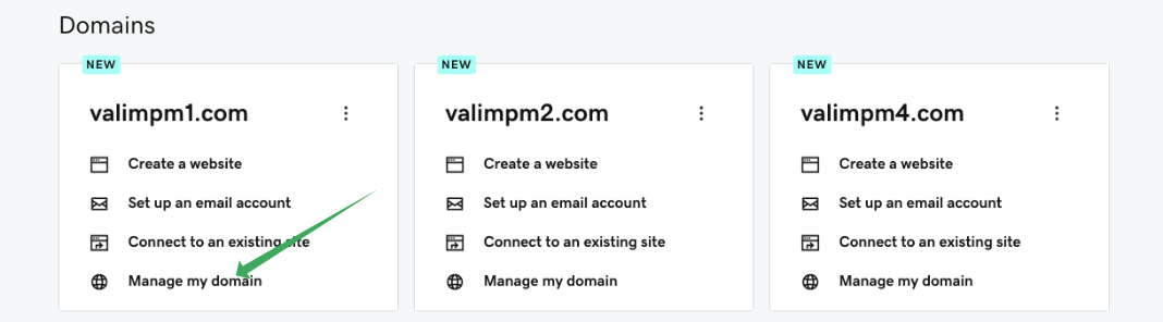 Domains Section and a green arrow pointing to the Manage my Domain option
